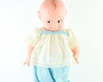 1967 Vintage Cameo Kewpie Doll Cupid Cupie Blue Pants Lace White Top Rare 15""