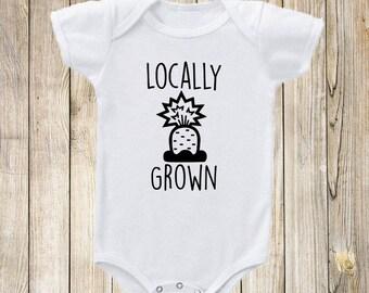 Locally Grown Onesie Bodysuit. Funny Onesie Shirt