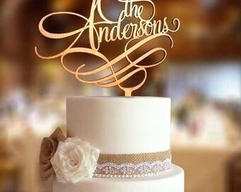 The Surname Cake Topper. Custom Last Name Wedding Cake Topper. Surname wedding cake topper. Wedding Cake topper. Custom Cake Topper.