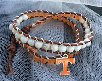 UT Vols double wrap leather beaded bracelet Tennessee Vols