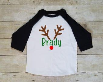 Reindeer Christmas Shirt for Boy, Personalized Christmas Shirt, Antler Shirt
