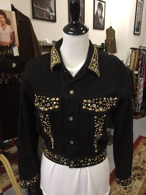 Vintage 1980s Cache Black Denim Jacket with Gold Embellishments