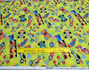 Race Day-Cars on Green Cotton Fabric from Wilmington Prints