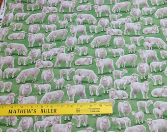 Sheep and Lambs on Green Cotton Fabric from Timeless Treasures