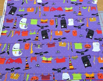 Stitchy Witchy Haunts-Figures on Purple Cotton Fabric from Robert Kaufman
