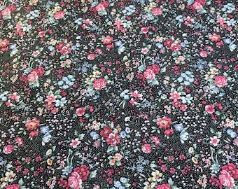 Flowers on Black Cotton Fabric