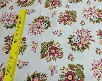 Autumn Flowers on Beige Cotton Fabric