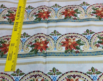 Winter Elegance-Red Flower Stripe Cotton Fabric from In the Beginning Fabrics