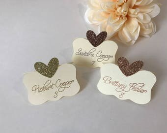 Gold Place Cards, Bridal Shower Place Cards, Wedding Place Cards, Glitter place cards, Custom Place Cards, Personalized Place Cards, Cream