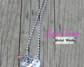 """Butterfly Necklace With Birthstone Swarovski Crystal and Handstamped Initial / 18"""" Necklace / Butterfly Gift"""