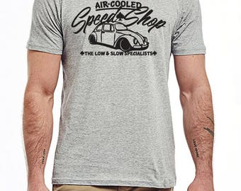 Volkswagen SPEEDSHOP t-shirt air-cooled VW grey low and slow Beetle Bus green