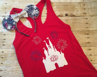 Disney Castle Firework Monogram Shirt, Tank, Baseball Tee Disney Patriotic 4th of July