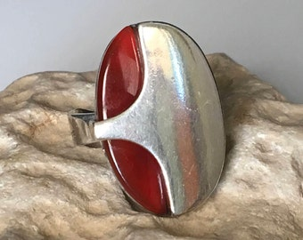 Carnelian silver ring, Carnelian Ring, Natural carnelian Ring, Silver carnelian Ring, Orange ring, Silver ring, Ring size 7, Adjustable ring