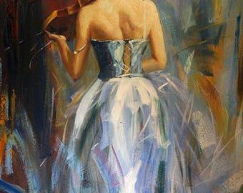 Violinist, Oil painting