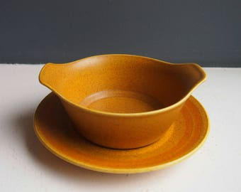 J & G Meakin Maidstone Design Dishes and Plates, Servingware, Small Handled Bowls, Ramekins, Yellow, Orange Saucers and Serving Dishes, 70s