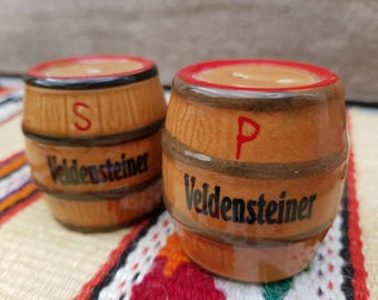 Beer Barrels Vintage German Salt and Pepper Shakers Ceramic SNP Veldensteiner Oktoberfest Farmhouse Decor Country Home Bavarian Souvenir
