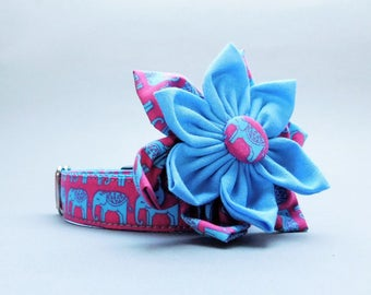 Blue girly dog collar with flower, Strong buckle, Pink elephant for girls, large, small, medium, Female big, Cool puppy, Autumn  pet gift