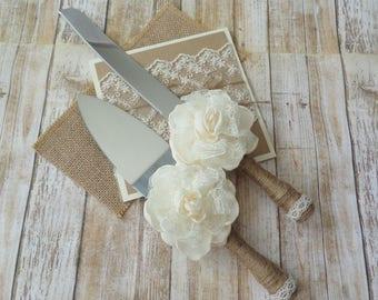 Rustic Wedding Cake Server & Knife, Wedding Cake Cutting Set, Burlap and Lace, Cake Cutting Set, Server Set, Set for Cake, Cake Server Set