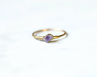 Mini Stacking Ring, Dainty Raw Ring, February Birthstone Ring, Raw Amethyst Ring, Petite Stacking Ring, Mini Gemstone Ring, Small Amethyst