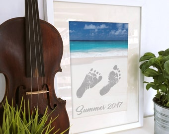 DIY Summer Beach Keepsake - INSTANT Download - Printable - Foot Print Art - Beach Footprint Art