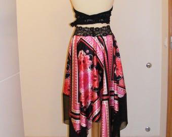 Argentine Tango Skirt Designer print satin Milonga dance wear