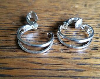 Silver mini hoop clip on earrings