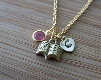 Open Book Necklace, Personalized Hand Stamped Initial Birthstone Necklace, Book Lover Monogram, Keepsake
