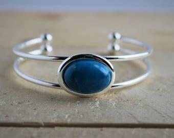 Silver Cuff Bracelet with blue howlite gemstone