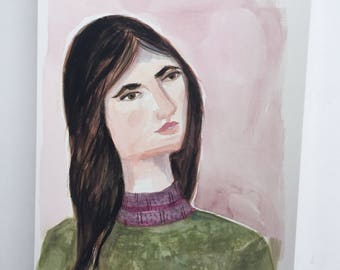 My name is Autumn. Original gouache painting Original portrait Pink and green Woman Original art Home decor 9x12 Original painting  kmoeri