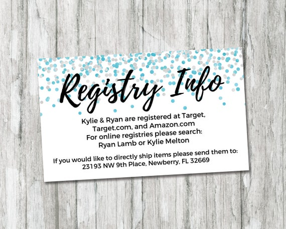 Registry Inserts Template: Baby Shower Registry Card It's A Boy Baby Shower