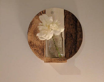 Rustic round wall planter- (wall decor) - hanging farmhouse design
