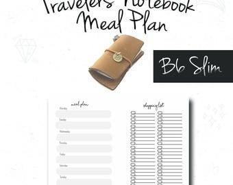 B6 slim Insert, Meal Plan, Grocery List, Fauxdori, Midori Insert, B6 slim tn, Notebook Refill, FoxyDori, ChicSparrow, PDF