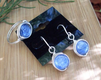 Ocean Blue Kyanite Matching Set, Your Ring Size Made-To-Order, Silver-filled Wire Wrapped Ring + Dangle Earrings, Kyanite Gemstones