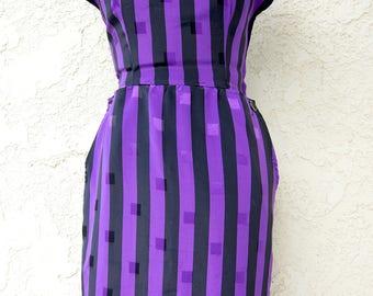 The Debbie - 1980's Eighties Geometric Pencil Wiggle Vintage Dress Size XS SM SMALL