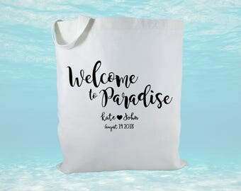 Personalized Destination Wedding Gift Bag, Canvas Tote Bag, Wedding Favor Bag, Wedding Welcome Bag, Paradise Welcome Bag, Bridal Gift