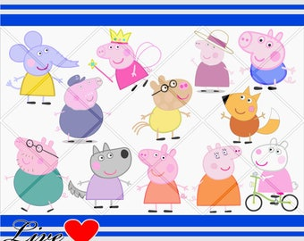 Peppa pig svg, Family pig Bundle svg, Vector Cut Files Cricut Designs Silhouette Cameo, Clipart, Digital Design