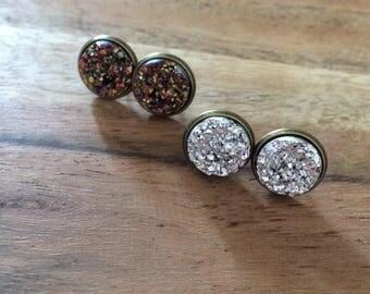 Faux druzy earrings