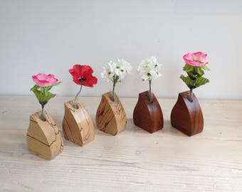 Wooden flower vase, single stem vase, wedding vase, glass test tube, Scottish, bud vase, beech, elm, handmade, natural, unique, Scotland