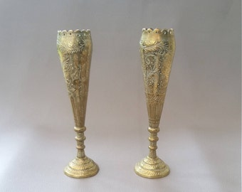 Two, Vintage Brass, Rose Vase, Indian brass, engraved vases, with varying engraving of characters and flora