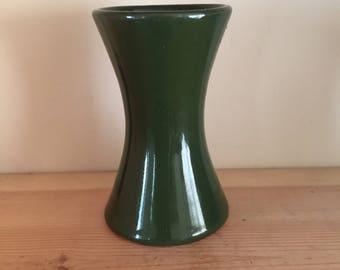 Vintage Dark Bottle Green Concave Vase