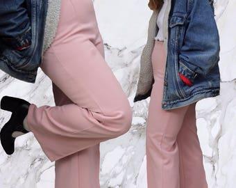 Vintage Pastel Pink Flared Pants / Vintage Pastel Pink Bell Bottoms 60s 70s Size 28 29 30 Pastel Pink Pants