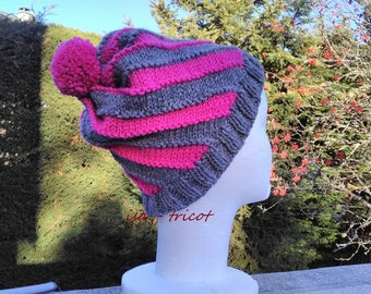 swirl gray hand knitted alpaca wool hat pink