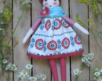 Cloth doll.Soft doll..Fabric doll.Textile doll.Rag doll.Cotton doll.Handmade doll.