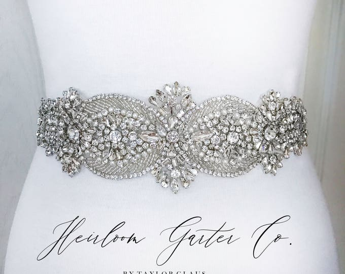 Bridal Belt, Crystal Rhinestone Bridal Sash, Wedding Belt, Wedding Sash Rhinestone and Pearl Sash