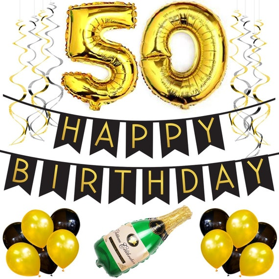 50th birthday party pack black gold happy birthday