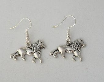 Lion earrings gift, leo earrings gift, lion jewellery, animal earrings, cat earrings, silver lion earrings, gift for her, wildlife earring