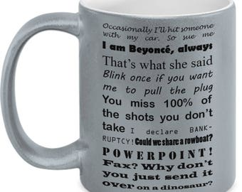 The Office Mug - Best Of Quotes, 11oz White Metallic Mug - Dwight Schrute & Michael Scott Lines, The Office Gift, Television Show No. 10