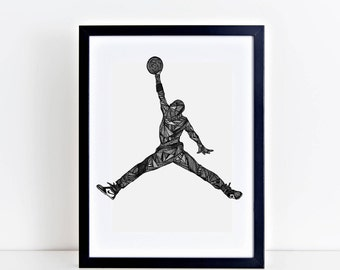 Black and White Art Wall Print Illustration Michael Jordan Jumpman