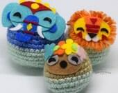 Cute Crochet Jungle Russian Doll Set Amigurumi Plushies