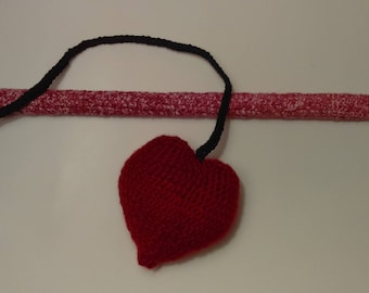 Heart Cat Teaser, Cat Teaser Toy, Dangling Cat Toy, Cat Wand, Crochet Cat Toy, Pet Toy, Heart, Yarn, Wood, Stuffed Toy, Red, Yarn, Heart